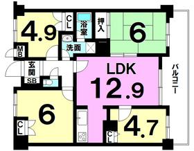 【間取り】 現在賃貸中のオーナーチェンジ物件!6階建ての5階部分・専有面積約72平米の4LDK・ペット可能!