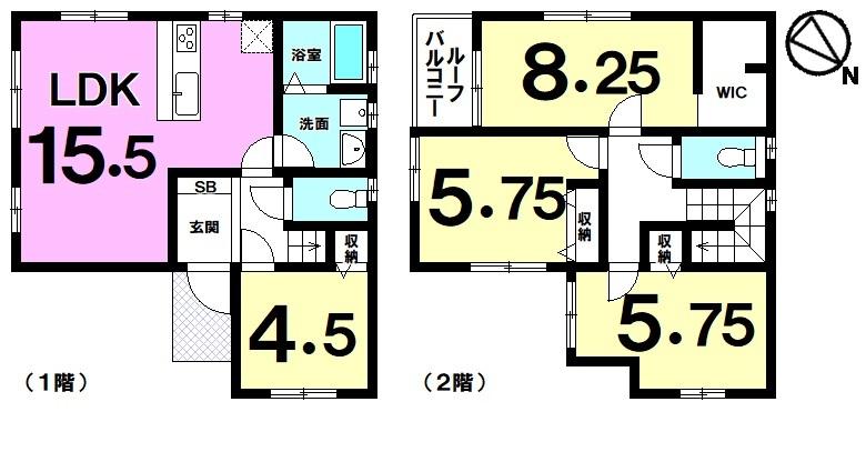 【間取り】 木造2階建て新築2区画!!令和元年11月完成予定!安謝小学校まで徒歩7分、58号線までアクセス良好◎