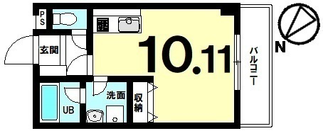 【間取り】 築4年の単身向き、低層マンション!10帖以上の1ルーム・駐車場有・修繕費が月額1,500円の物件!