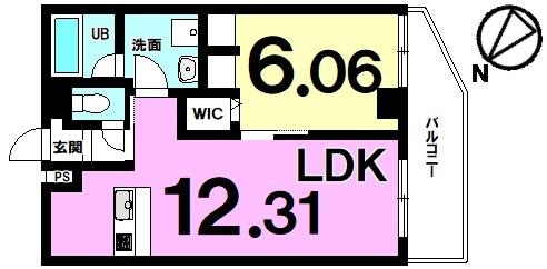 【間取り】 カップル&夫婦向きの1LDK!対面式・システム・カウンターキッチン!水回り設備集約の動線計画良好!