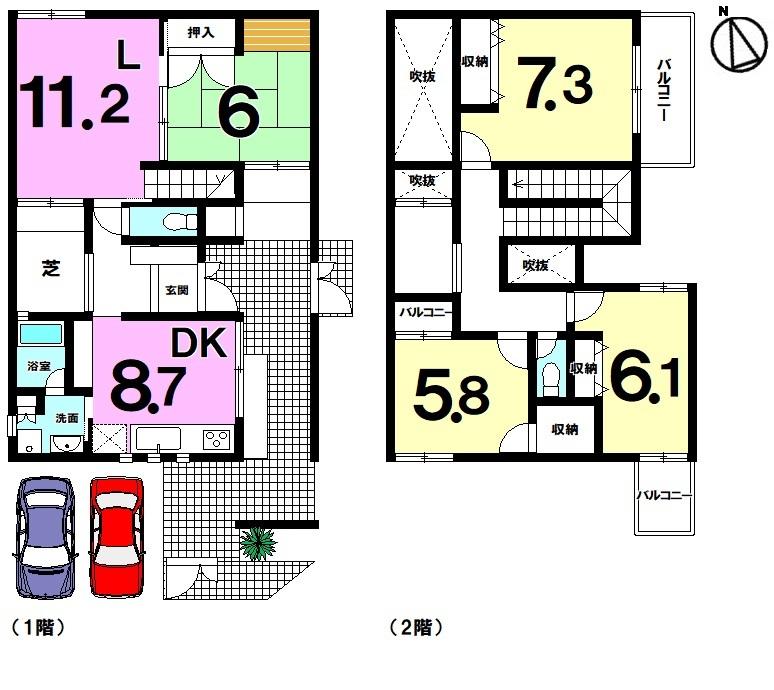 【間取り】 即内覧可能!2階建てリビングに直結の芝庭付!和室有の4LDK!駐車場と東側道路直結の入口が2か所有!