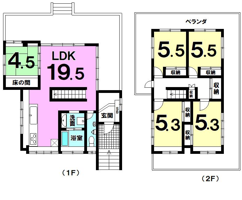 【間取り】 中央の階段が空間を上手に分断した設計の5LDK!2階部分は全面バルコニー!各居室収納完備の物件です!