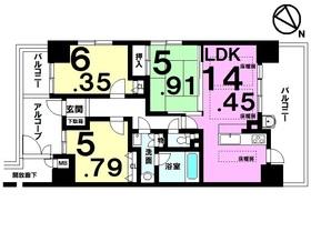 【間取り】 オーナーチェンジ物件・賃貸中・想定利回り6.04%・駅徒歩2分・9F角住戸・二面バルコニー・床暖房