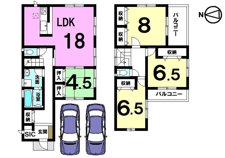 18帖の広々LDKを是非ご覧下さい。 全室に収納スペースを豊富に確保致しました。 並列で2台駐車可能です。