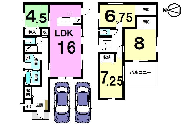 全ての居室に加え、玄関や廊下にも収納スペースを確保しております。 約5帖の大きなバルコニーから日差しもたっぷり入ります。 並列で2台駐車可能です。