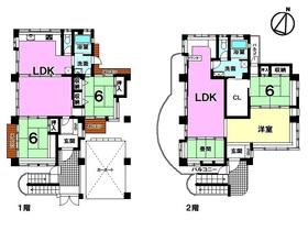 【間取り】 角地!現在2階を月10万円で賃貸中!今後の2世帯住宅としてもご検討可能!駐車場1台分あり!