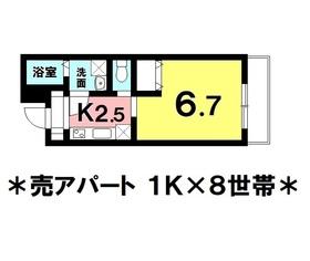 【間取り】 那覇市宇栄原に売アパート登場!!1Kの8世帯!利回り5.1%!アパート経営始めてみませんか?