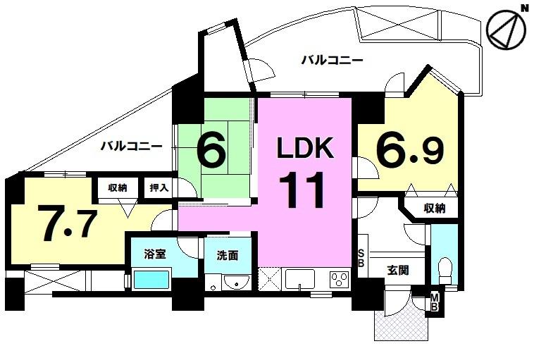 【間取り】 おもろまち駅まで徒歩約9分!南東向き2面バルコニー(約20平米)!全居室6帖以上・3LDK!駐車場有