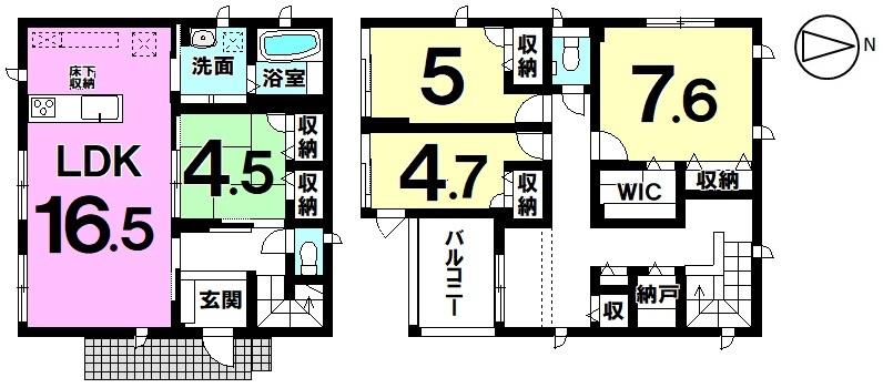 【オール電化】各所に設置された収納が活躍し居住スペースもすっきり使える4LDK+S新築戸建
