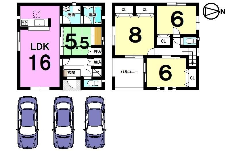 全室に収納スペースを確保。 バルコニーには屋根があり、突然の雨でも洗濯物を 濡らす心配はありません。 並列で3台駐車可能です。