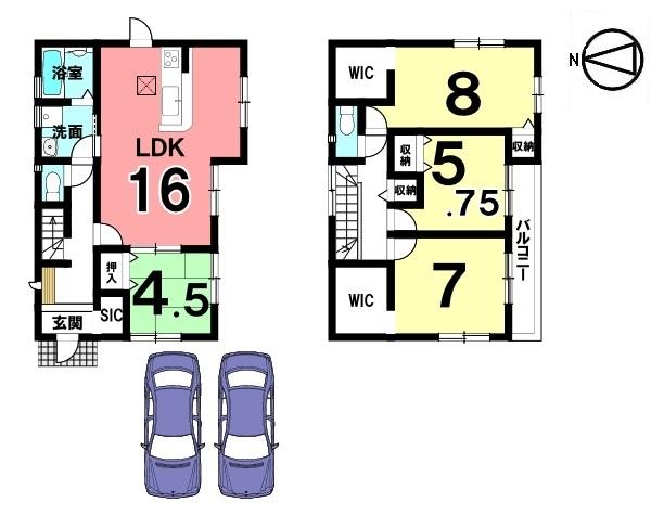 全室南向き、18帖の大きなLDKを是非ご覧下さい。 キッチン、洗面等の水まわり設備を一か所に集めた 便利な配置。収納スペースも各所に確保しております。 並列で2台駐車可能です