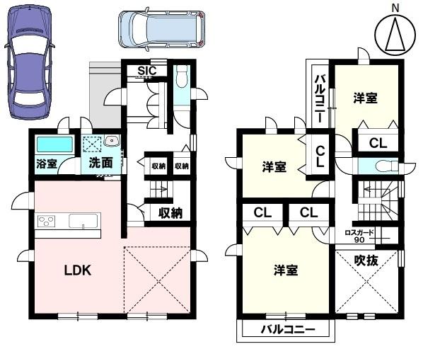 土地面積 138.02㎡ 建物面積 101.75㎡ 3LDK 駐車場2台