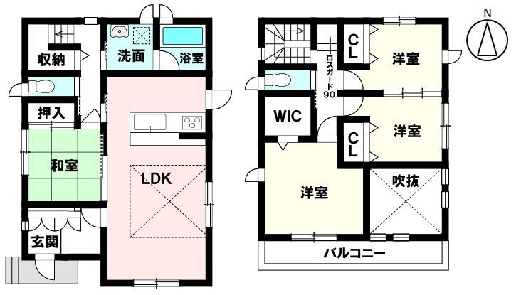 土地面積 152.53㎡ 建物面積 101.61㎡ 4LDK 駐車場2台