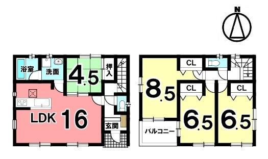 1階は和室を合わせて20.5帖の大きなお部屋としてもご利用頂けます。 キッチン、浴室など水まわり設備を一か所に集めた 便利な配置。収納も各所にもうけました。