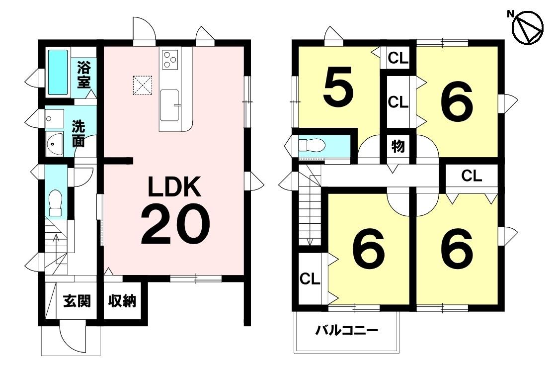 分譲地内 広々LDK20帖 全居室フローリング 南西向きバルコニー 駐車2台可 スーパー徒歩2分