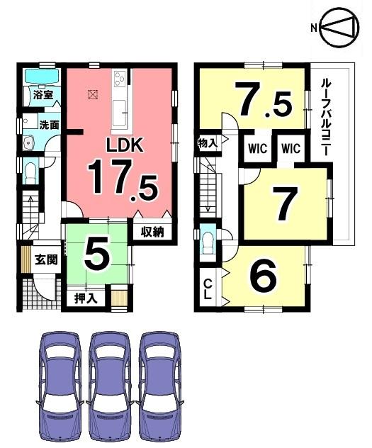 全室南向き!陽当たり重視のお客様に自信を持っておススメできる物件です。 並列で3台分の駐車スペースを確保致します。