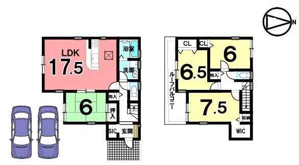 全て6帖以上の広さを確保しております。 並列で2台駐車可能です。