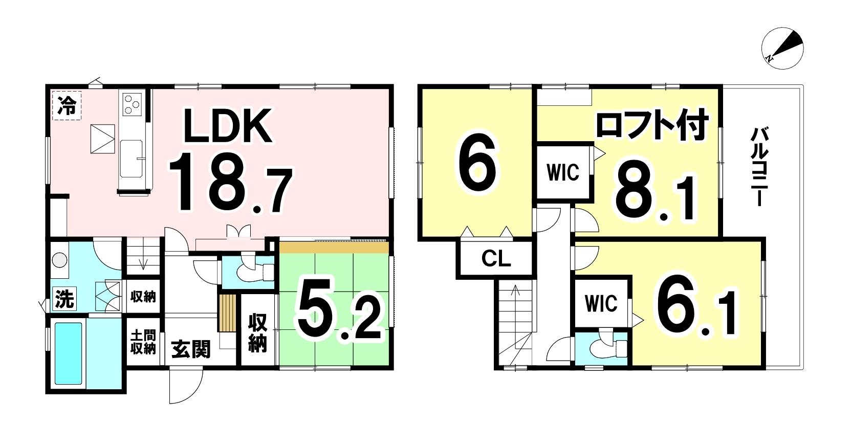 土地面積:132.75㎡(40.15坪)建物面積:104.33㎡(31.55坪)4LDKの新築戸建です。