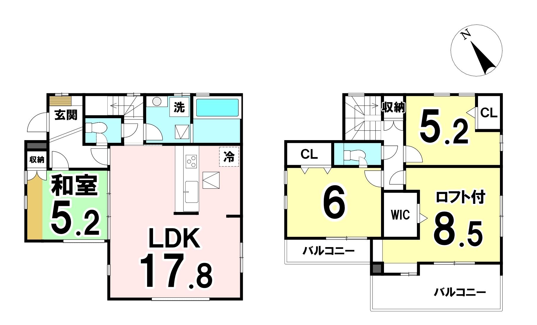 土地面積:131.95㎡(39.91坪)建物面積:100.39㎡(30.36坪)4LDKの新築戸建です。