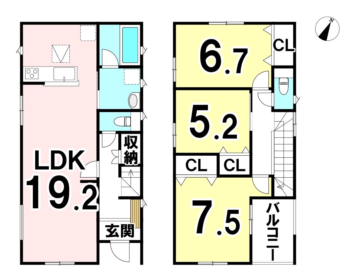 敷地面積 193.20㎡ 延床面積 91.52㎡ 3LDKです