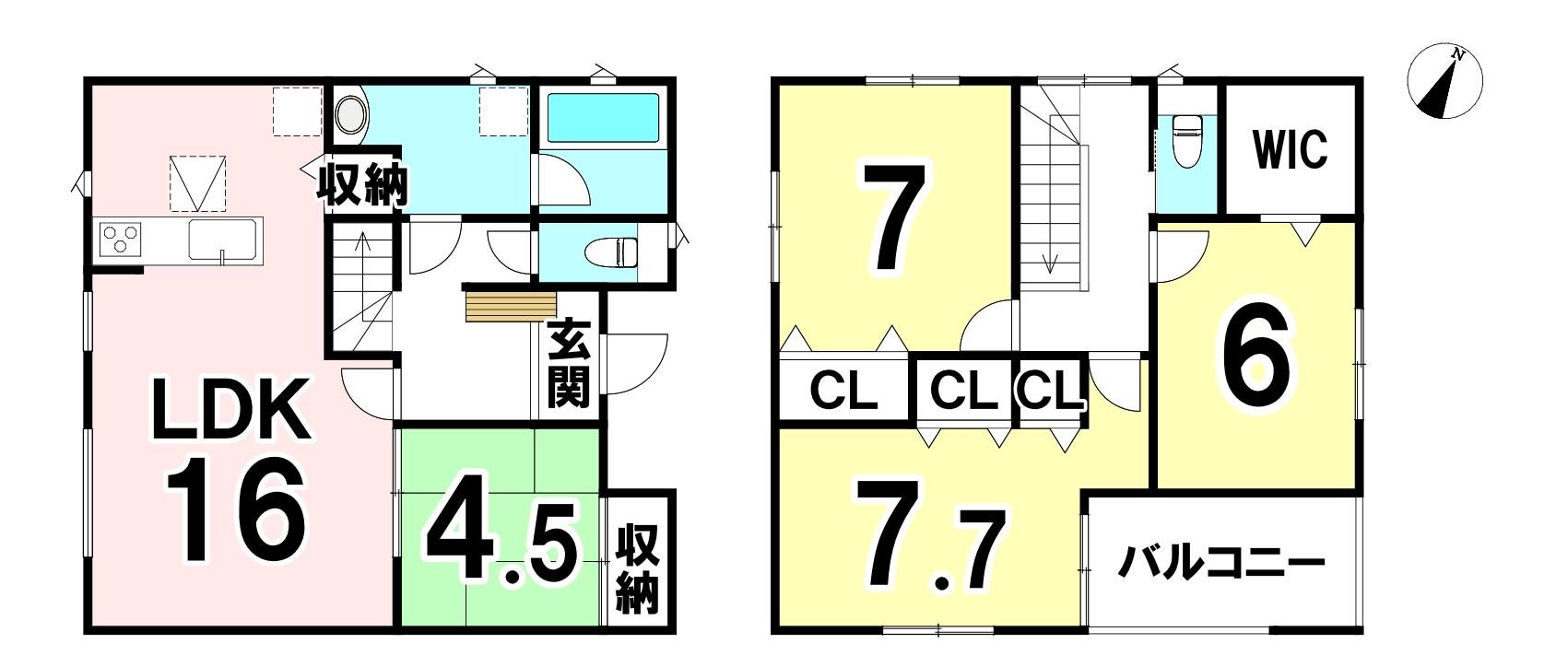 敷地面積 121.55㎡ 延床面積 101.25㎡ 4LDKです♪