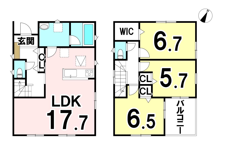 土地面積120.41㎡/36.42坪・建物面積87.07㎡/26.33坪の3LDKです!