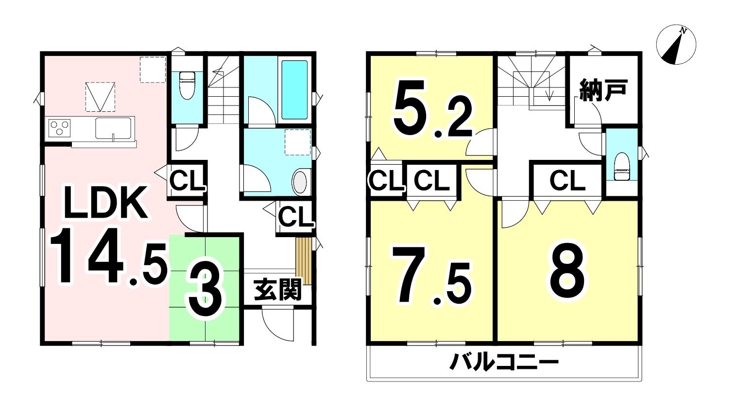 土地面積100.32㎡/30.34坪・建物面積95.58㎡/28.91坪の3LDK+S(納戸)です!