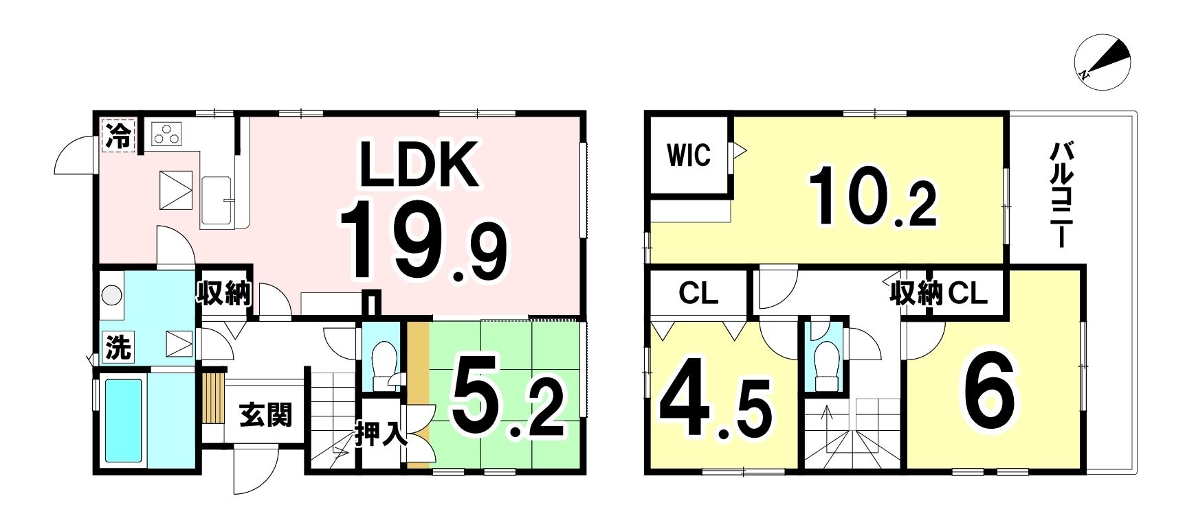 土地面積:132.74㎡(40.15坪)建物面積:106.61㎡(32.24坪)4LDKの新築戸建です。