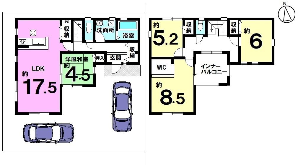 土地面積 164.21㎡ 建物面積 112.62㎡ 4LDK 駐車場2台