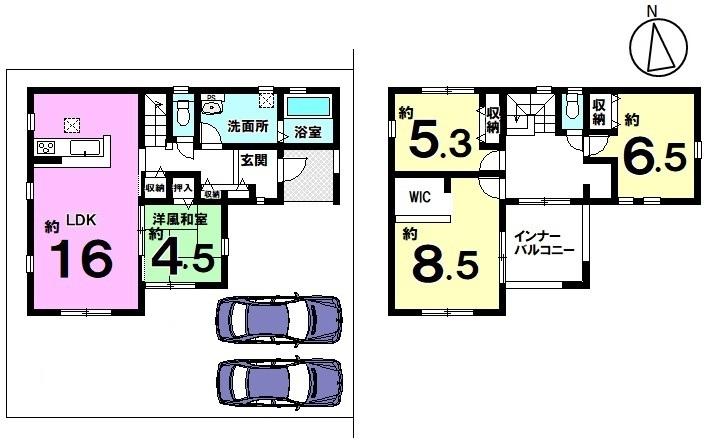 土地面積 164.10㎡ 建物面積 110.97㎡ 4LDK 駐車場2台