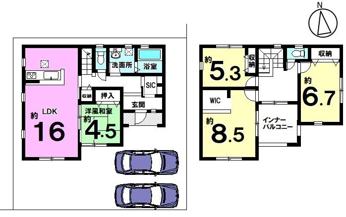 土地面積 179.19㎡ 建物面積 113.17㎡ 4LDK 駐車場2台