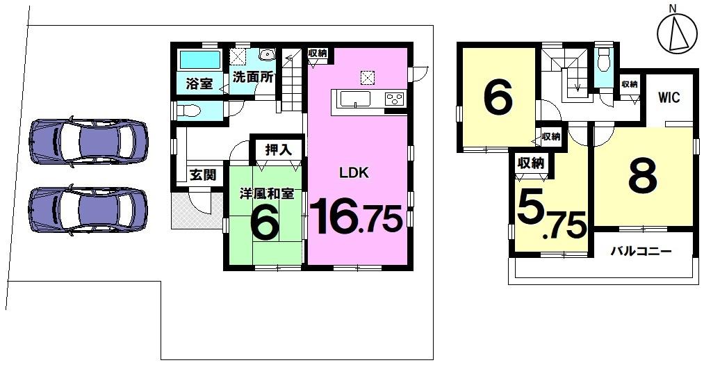 土地面積 158.32㎡ 建物面積 105.58㎡ 4LDK 駐車場2台