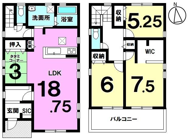 土地面積 170.23㎡ 建物面積 105.58㎡ 3LDK+S(納戸) 駐車場2台