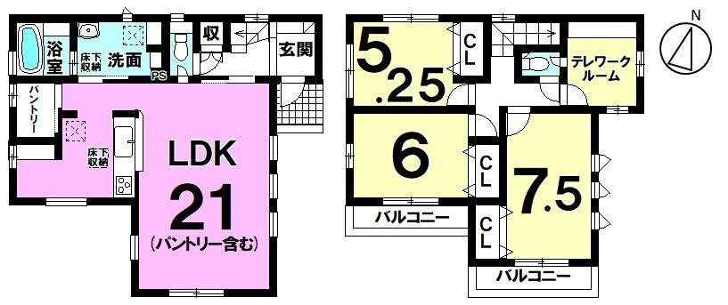 【家具を設置してもゆとり21帖LDK】子育てにも適した住環境に佇む4LDK新築戸建