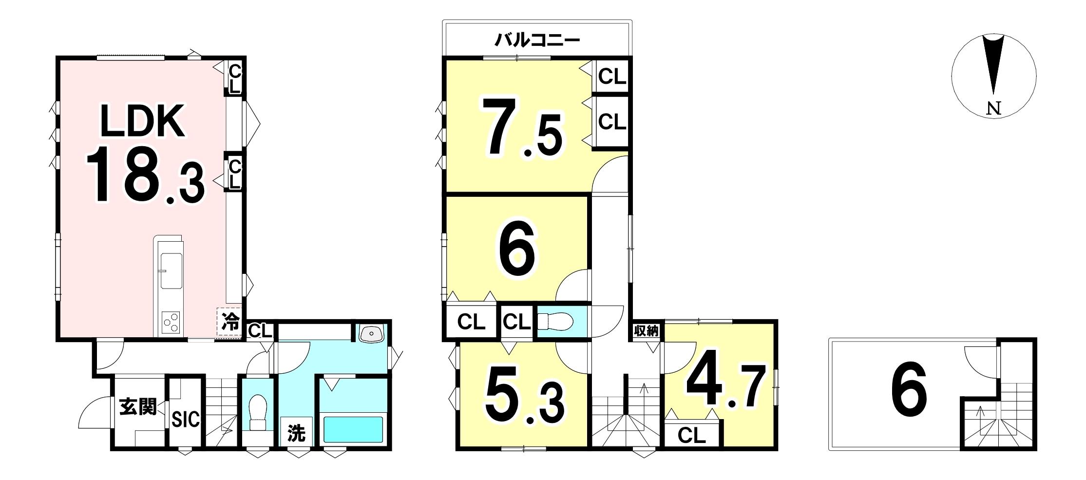 土地面積:112.91㎡(34.15坪)建物面積:109.29㎡(33.06 坪) 屋根裏収納のある4LDKの新築戸建です。