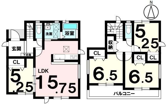 土地面積 128.44㎡(約38.85坪) 建物面積 94.81㎡(約28.68坪) 4LDK 駐車場2台