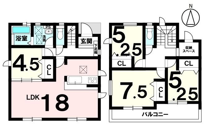 土地面積 192.53㎡(約58.24坪) 建物面積 100.19㎡(約30.30坪) 4LDK 駐車場2台