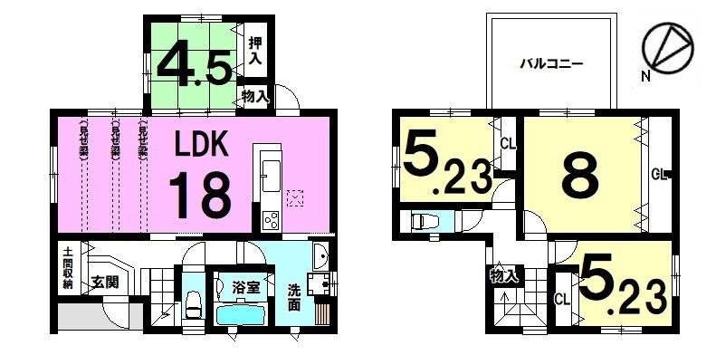 キッチン・洗面など水まわりを1か所に集めた便利な配置です。1階は和室を合わせて22.5帖の大きなお部屋!駐車4台可能です。