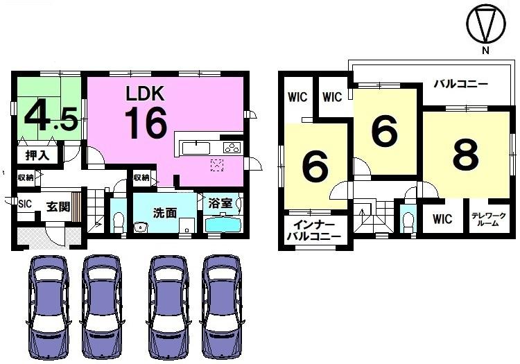 全室南向きの光あふれるおうち!ポカポカと暖かなお部屋でおくつろぎ下さい。並列で4台駐車可能です。