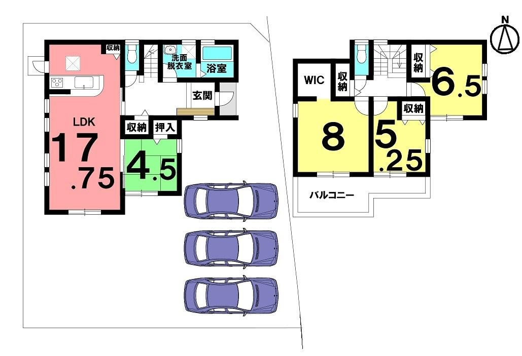 土地面積 176.88㎡(53.5坪) 建物面積 106.00㎡(32.06坪) 4LDK 駐車場3台