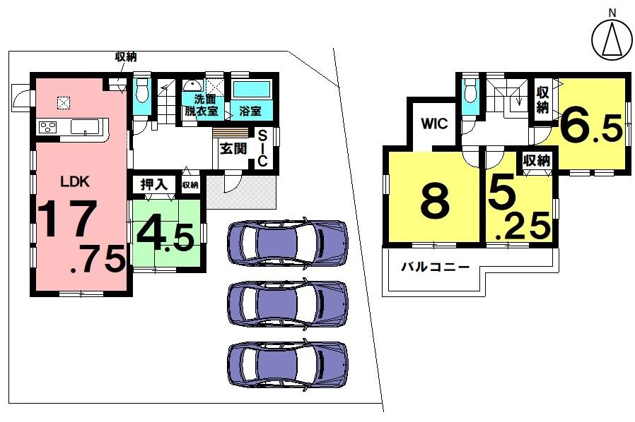土地面積 206.37㎡(62.42坪) 建物面積 105.99㎡(32.06坪) 4LDK 駐車場3台