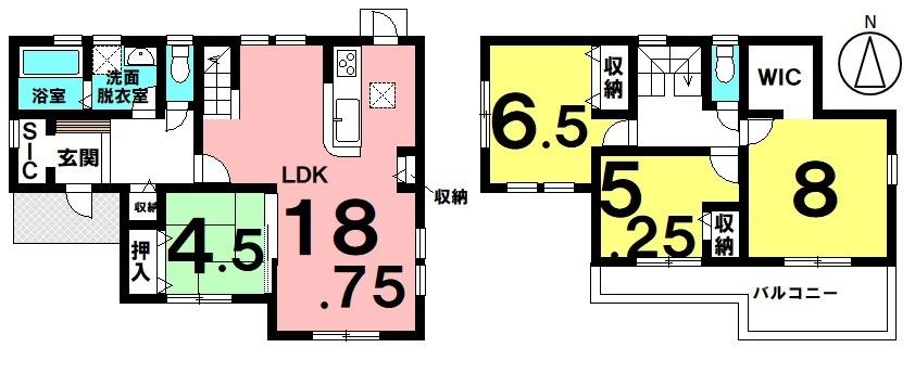 土地面積 271.01㎡(81.98坪) 建物面積 105.99㎡(32.06坪) 4LDK 駐車場3台