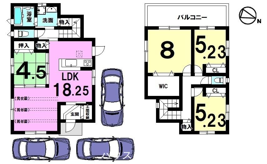 リビング奥に階段をもうけた、ご家族が顔を合わせやすい間取りです。全室に収納スペースを確保。駐車は3台可能です。