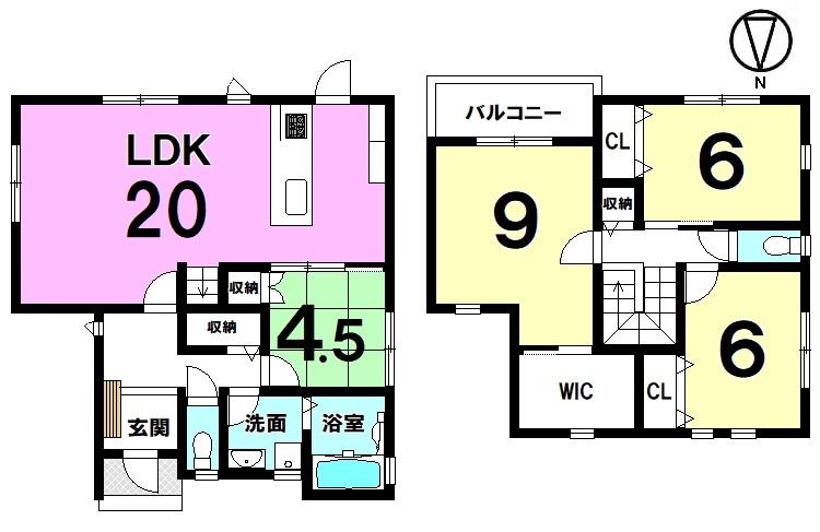 20帖の大きなLDKを是非ご覧下さい!ご家族が顔を合わせやすいリビング階段を採用しております。収納スペースも豊富に確保。並列で2台駐車可能です。