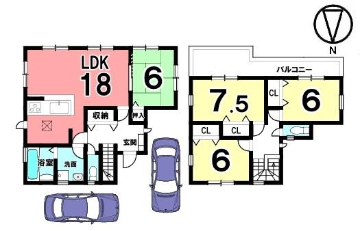 全室6帖以上の広さを確保。ゆとりある間取りをご希望のお客様におススメの物件です。南向きの明るいリビングを是非ご覧下さい