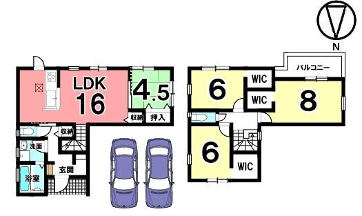 全室に収納スペースを確保。南向きの光あふれるリビングを是非ご覧下さい!並列で2台駐車可能です。