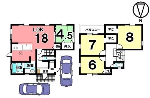 1階は和室と合わせて22.5帖の大きなお部屋としてもご利用頂けます。キッチン・洗面など水まわりを一か所に集めた便利な間取りです。