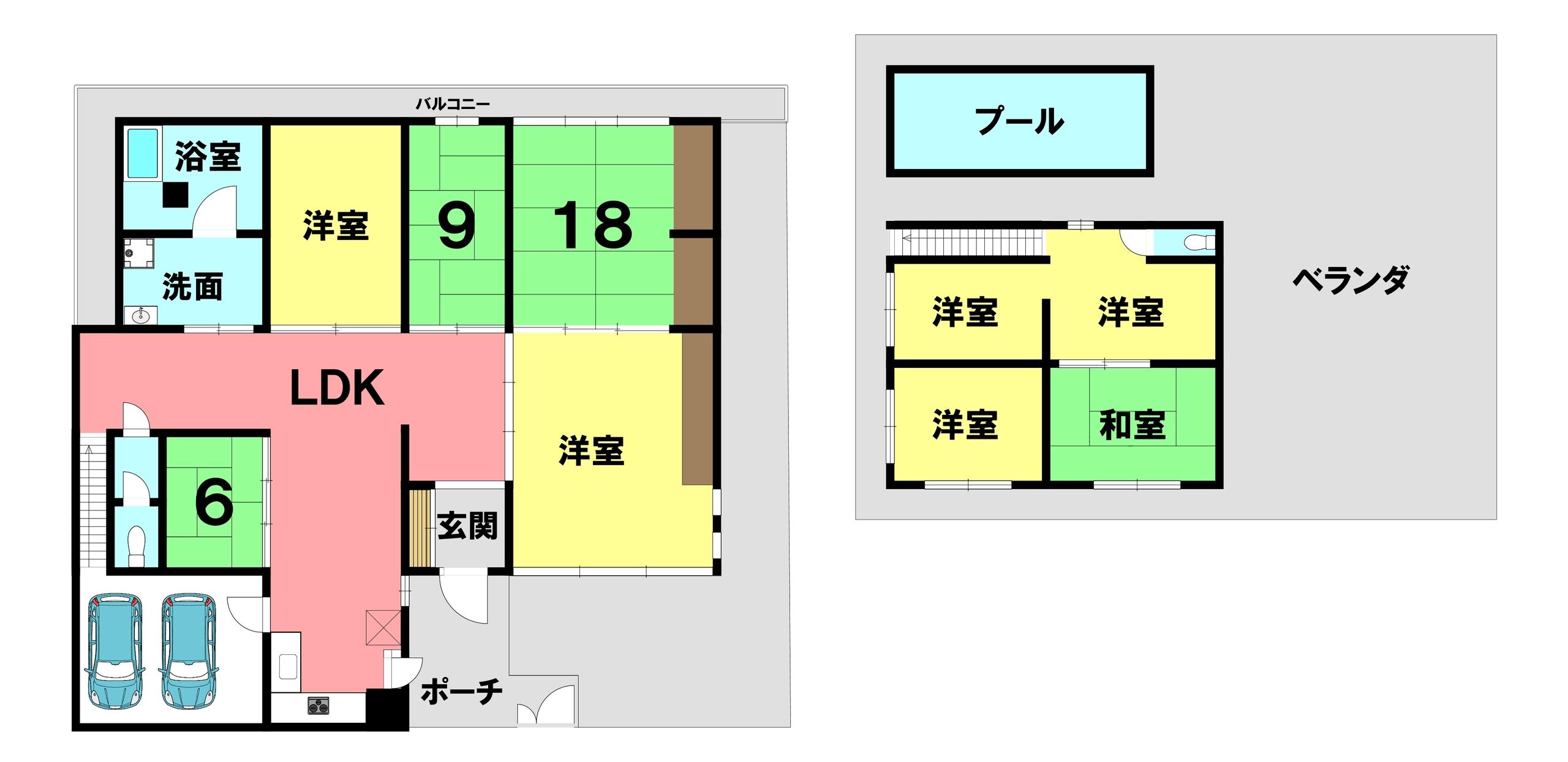 【間取り】 屋上プール有り!屋根付きシャッター車庫!普通車2台駐車可!庭10坪以上!二世帯向き!トイレ2ヶ所!