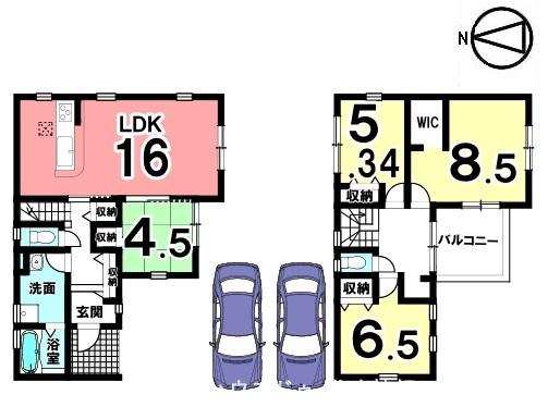 南向きの明るいリビングを是非ご覧下さい。収納スペースを全室に確保。並列で2台駐車可能です。