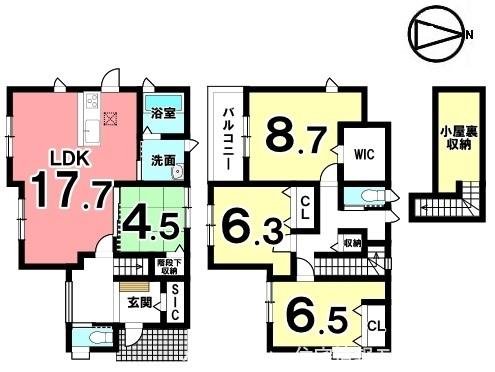 1階は和室を合わせて22帖の大きなお部屋としてもご利用頂けます。キッチン・洗面など水まわりを一か所に集めた便利な配置。駐車2台可能です。